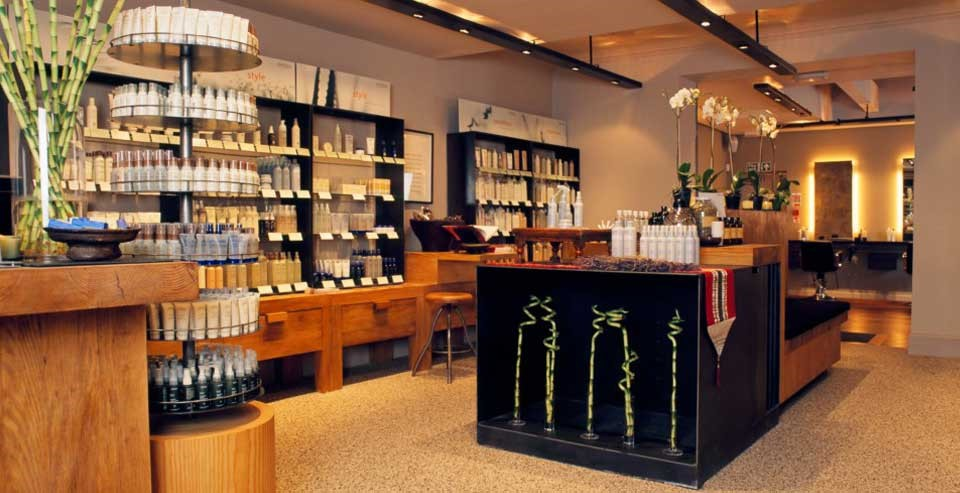 Aveda store refurbishment benchline shopfitting for Aberdeen college beauty salon